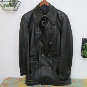 Vintage McGregor Black Leather Trench Coat XL